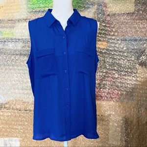 NEW 'Royal Blue Sleeveless ButtonDown Blouse'